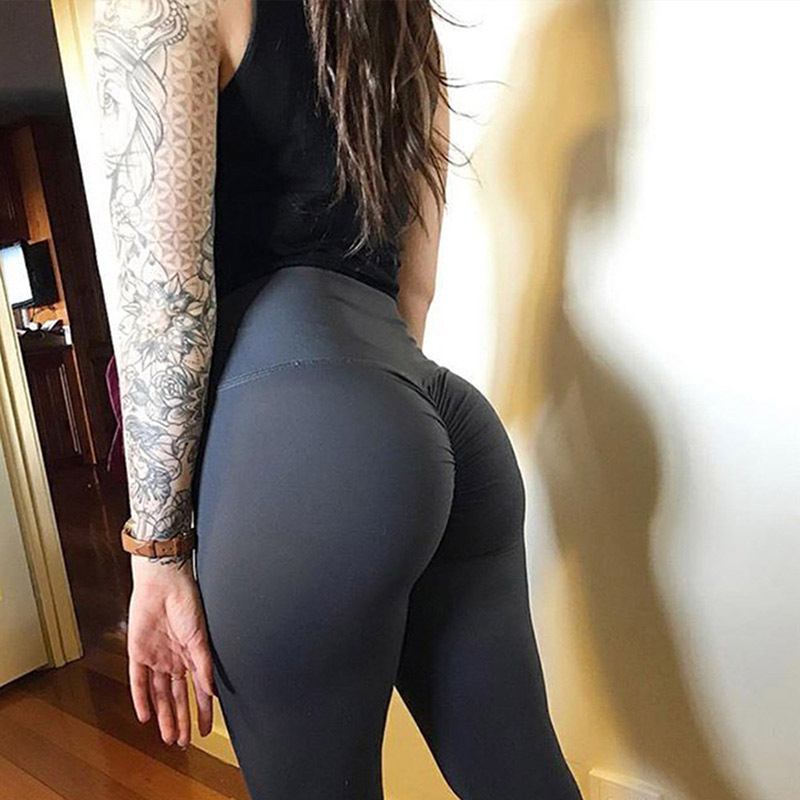 New High Waist Leggings Women Fitness Clothes 2018 Slim Ruched Bodybuilding Women's Pants Athleisure Female Sexy Leggings(China)