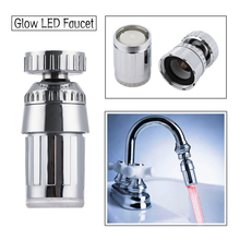 360 grad Rotation Farbe Automatisch RGB Dusche Wasserkraft Temperatur Sensor Licht Wasserhahn Glow LED Wasserhahn