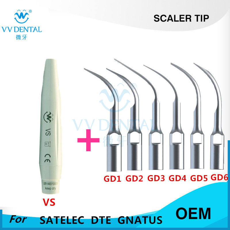 Dental scaler tip and scaler hand piece for SATELEC WOODPECKER DTE GNATUS HENRY SCEHEIN S SERIES