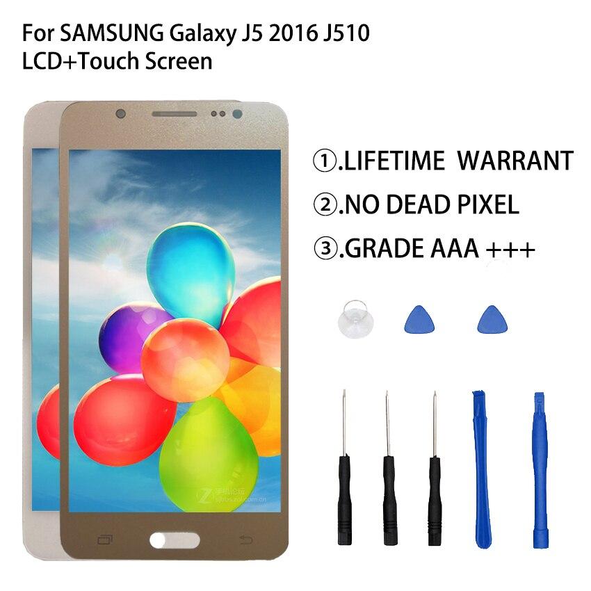 Pour SAMSUNG Galaxy J5 2016 J510 LCD écran tactile numériseur assemblée pour SAMSUNG Galaxy J5 2016 J510 écran tactile pièces de téléphone