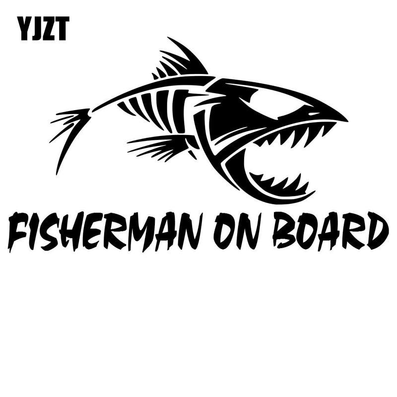 YJZT 20cm*11.3cm  Fisherman On Board Skillet Fishing Decal Car Truck Boat Bumper Window Sticker Black/Silver C10-00057