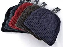 2017 winter men hats beanie knitted wool hat plus velvet cap Thicker mask touca beanies for men 5 colors