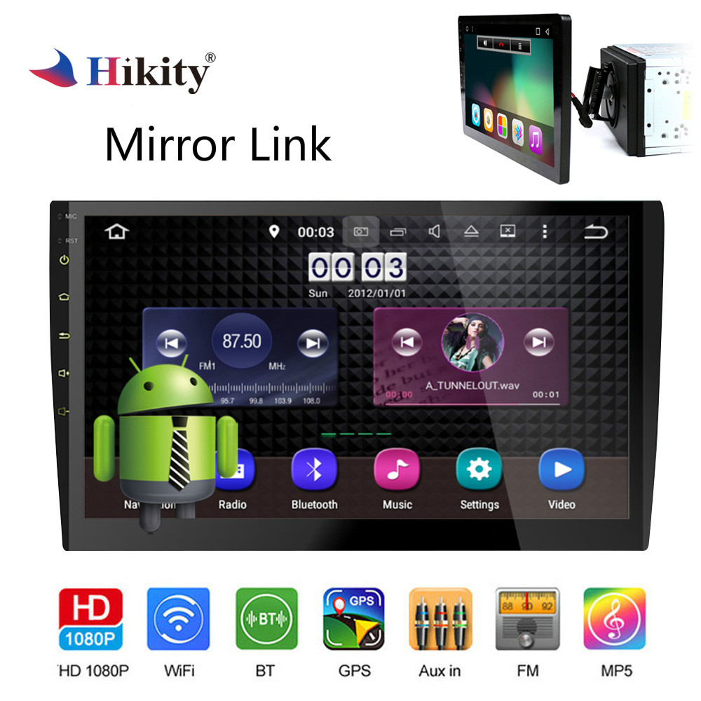 Hikity 10.1 2 din Car Radio Android GPS Navigation Wifi Car Multimedia DVD Player with Mirror Link Support Rear View Camera