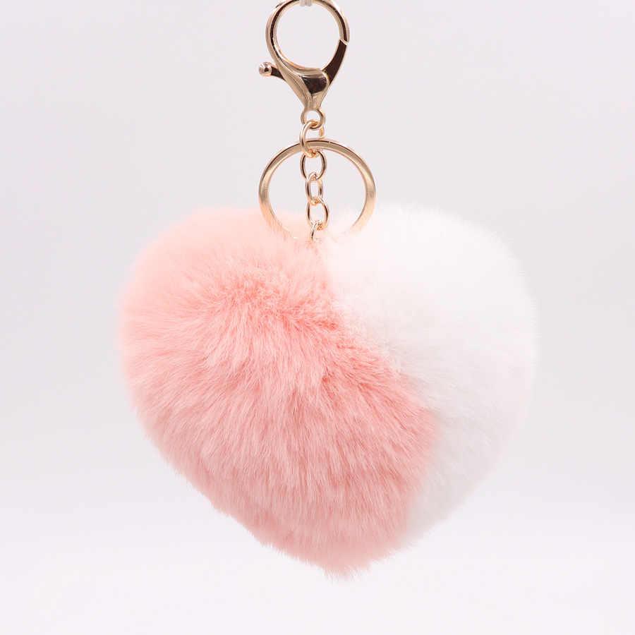 Moda Duplo Cor Coração Chaveiros para As Mulheres Pom Pom Faux Pele De Coelho Pompom Chaveiro Car Chaveiro Bag Pingente Acessórios