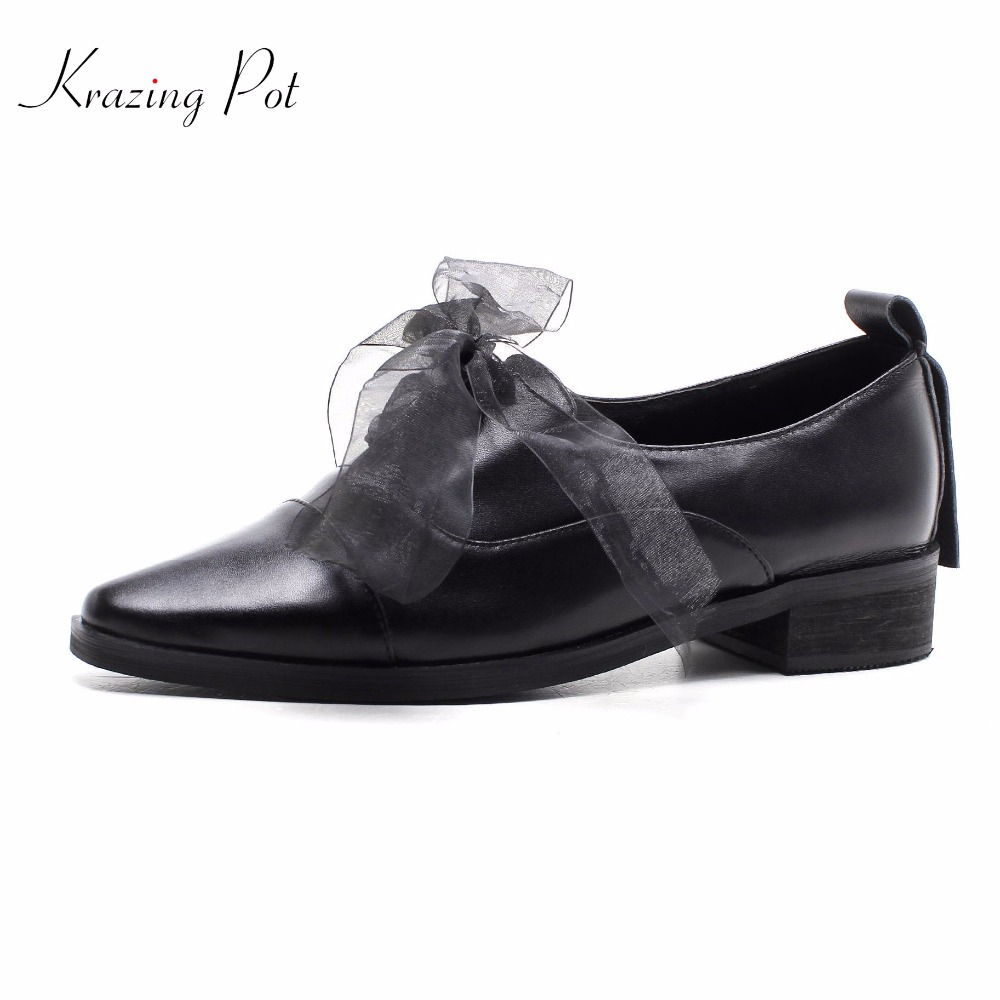 Krazing pot 2018 genuine leather women brand shoes med heels lace up woman pumps pointed toe shallow summer mary janes shoes L93 shofoo newest women shoes med heels pointed toe pumps for woman dress