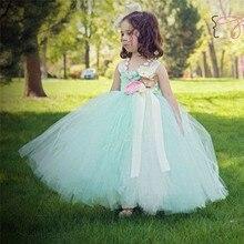 Handmade Mint Green Girl Tutu Dress Tulle Princess Flower Girl Dress Kids Wedding Party Bridesmaid Birthday Photograph Dresses