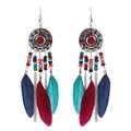 La moda de nueva color pendientes de la pluma larga del todo-fósforo pendiente pendientes mujer moda aretes de mujer kolczyki ohrringe hoop pendientes