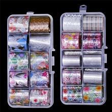 10pcs Holographic Nail Foil Set 2.5*100cm Floral Transfer Sticker For Nails Art Candy Foils Decorations NZ06