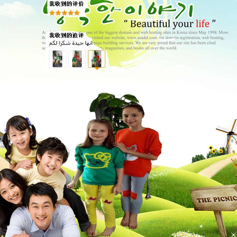 9785773668b1e ... Children's clothing set girl long sleeve T-shirt + pants 2 pcs cartoon  cat printing ...