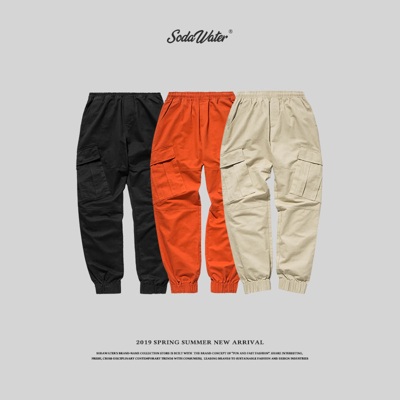 SODA WATER Mens Hip Hop Patchwork Pockets Tapes Joggers Trousers 2018 Autumn & Winter Cargo Pants Men Ankle-Tied 8871W