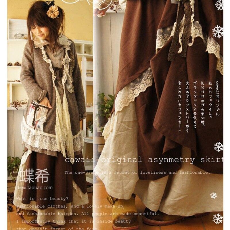 Japonais Harajuku Mori fille jupes douces femmes Double couche mignon boucle Vintage dentelle Pure asymétrique belle femme jupes D130