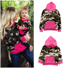 Mother and Daughter Clothes Family Matching Clothes Long Sleeve Women Kids Camouflage Hooded Tops Sweatshirt Hoodie Family Look