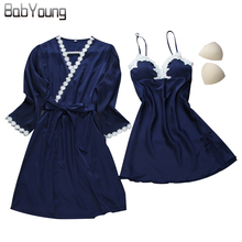 Купить с кэшбэком BabYoung Women Robe Sets Sexy Bathrobe Faux Silk Nightgown Lace Floral Pajamas Strap Adjustable Sleepwear Nightwear Lingerie Set