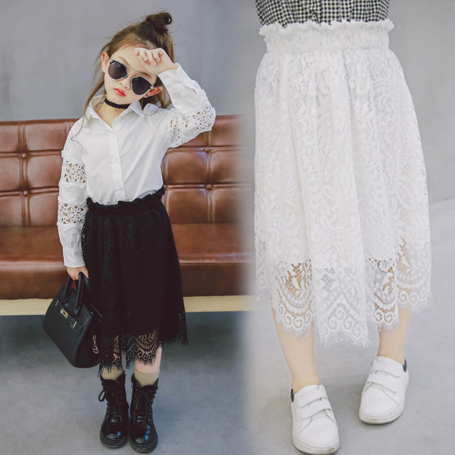 New 2017 Spring Girls Skirts Children Lace Multilayer Kids Lace Skirt Toddler Skirt Both Sides Can Wear,2-7Y