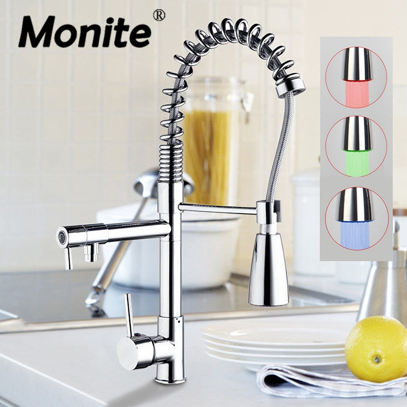 MONITE LED Pull Down Swivel Brass Chrome Spray Sink Kitchen Faucet Basin Faucet Torneira Cozinha Faucets Mixer Tap ydl f 0506 kitchen brass sink basin mixer tap chrome spray swivel faucet silver black