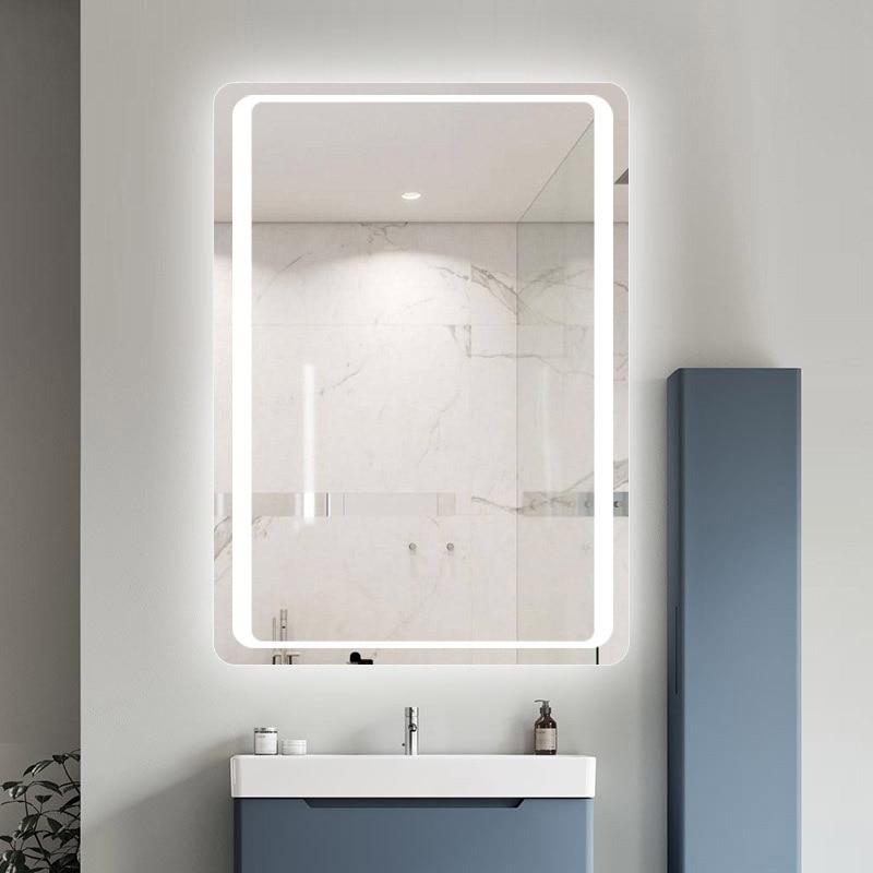 Glamo Hotel Custom Touch Bluetooth Bathroom LED Mirror Smart Anti fog Wall Vanity mirrorl For Home 2 Colors Light espejo pared tocador