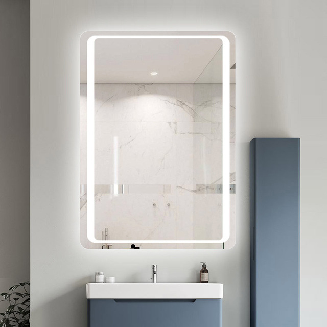 Glamo Hotel Custom Touch Bluetooth Bathroom LED Mirror Smart Anti fog Wall Vanity mirrorl For Home 2 Colors Light espejo pared tocador