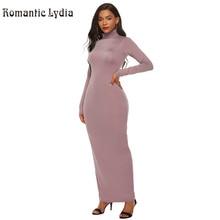 فساتين طويلة ضيقة للخريف والشتاء للنساء 2018 بلون واحد فستان طويل بياقة مدورة مقاس كبير