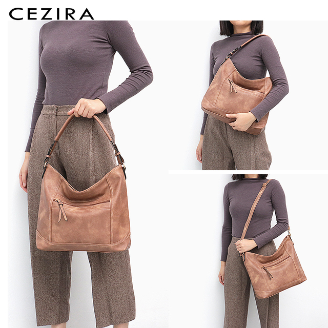CEZIRA Casual Hobos for Women High Quality Vegan Leather Handbags Female Shoulder Bags Ladies Fashion design Tote Messenger Bags 1