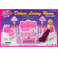 Large new case for Barbie doll Dream House furniture accessories pink living room sofa stylish home play house toys