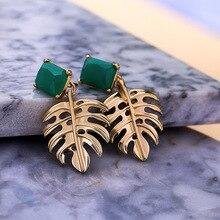 Boho Alloy Hollow Leaf Dangle Earrings Chic Green Resin Geometric Drop Earring For Women Trendy Big Brincos Jewelry Accessories недорого