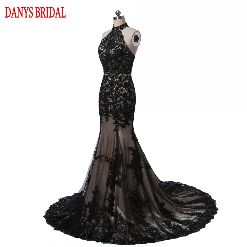 Elegant Black Lace Evening Dresses Mermaid Long Party Halter Tulle - Gaun acara khas - Foto 2