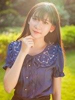 Women Peter Pan Collar Chiffon Lolita Blouse Moon Star Constellation Embroideried Short Sleeve Shirt Summer Tops