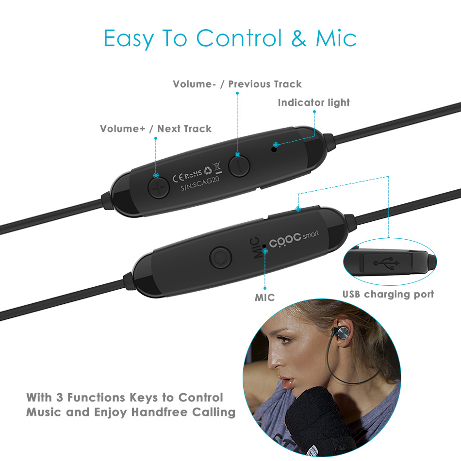 Smart Magnetic Bluetooth Earphone, CRDC Slim Wireless Headphones IPX6 Sweatproof Sport Headset with Mic For Xiaomi xiomi iPhone