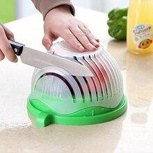 Keythemelife Kitchen Tools Salad Cutter Bowl Easy Salad Fruit Vegetable Washer And Cutter Quick Salad Maker Chopper 2D