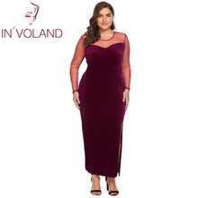 IN VOLAND Full Size L-4XL Women Party Dress Spring Autumn Long Sleeve Sheer.  3 Colors Available 5543bdd95df4