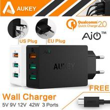 AUKEY Quick Charge 2.0 USB Wall Charger 3 Port Smart Fast Turbo Mobile Charger For iPhone7 Samsung Galaxy s6 Edge Xiaomi EU/US
