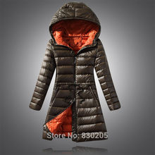 2016 New Women Ultra Light Duck Down Jacket Plus Size 6XL Autumn Winter Hooded Long Down Coat Plus Size 6XL Black Army Green