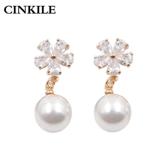 Us 3 78 Cinkile 2 Colors Choose Aaa Zircon Flower Clip Earrings Without Piercing No Ear Hole Fashion Women S Jewelry In