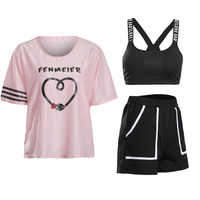Hot Summer Fitness Women Cute Yoga Set 3 in 1 Set Girl Yoga Bra & Shorts & Pink T Shirts Gym Clothes Sport Wear Outdoor Jogging