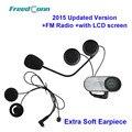 Nova Versão Atualizada!! TCOM-SC W/Tela BT Bluetooth Capacete Da Motocicleta Intercom Headset com Rádio FM + Soft fone de ouvido