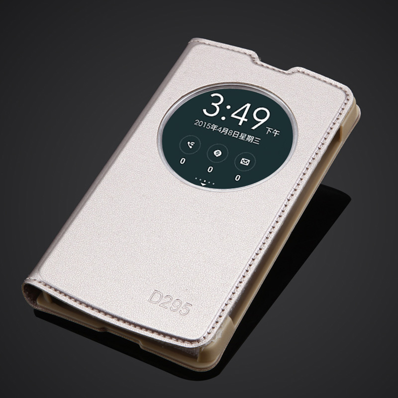 Nieuwe Back Battery Cover Voor LG G2 Lite / L Fino D295 D290N Luxe Quick Circle Clear View Venster Flip Leather Case