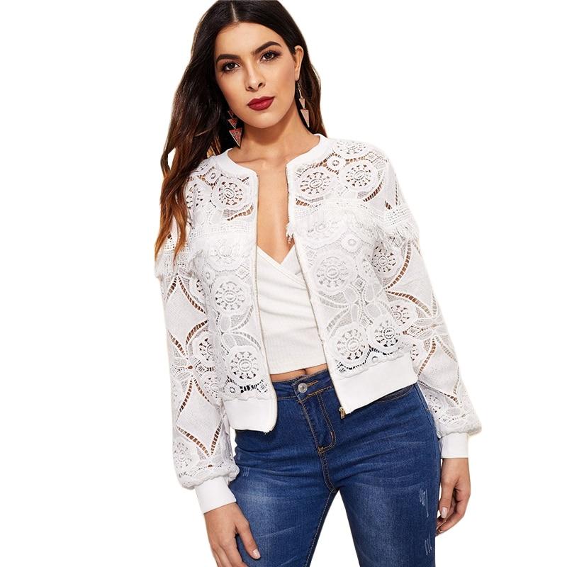 Sheinside White Elegant Hollowed Out Lace Jacket Women 19 Back Frayed Edge Detail Jackets Ladies Fringe Zip-up Lace Outwear 17