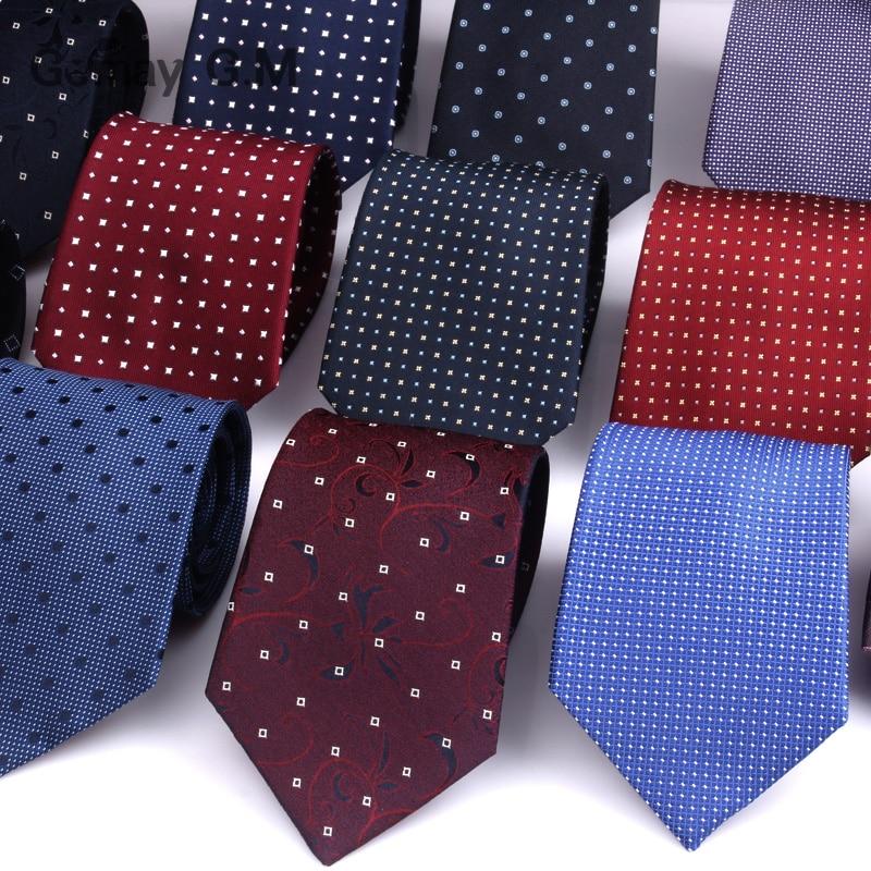 100% Silk Krawatten Für Männer Fashion Classic Jacquard Dots Krawatten Für Mann Blau Navy Seide Krawatte Für Geschenk Partei Streifen Anzüge Krawatte AusgewäHltes Material