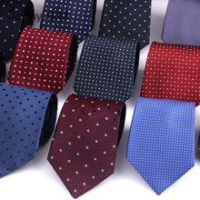 bf91a4836096 100% Silk Ties For Men Fashion Classic Jacquard Dots Neck Ties for Man Blue  Navy