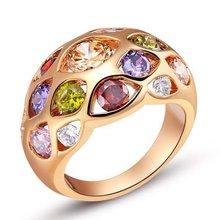 Круглое кольцо розовое золото заполненное красочное женское