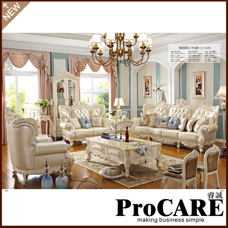 European Style Furniture Royal Classic Wedding Sofa For Living Room 1+2+3