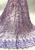 High end sexy women dress 2016 fashion style french lace fabric purple african tulle lace fabric for dresses AMZ767