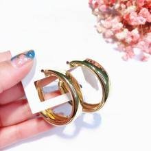 Fashion Creative Hoop Earrings For Women Korean Round Circle Simple Jewelry Gold/Silver Color Bijoux