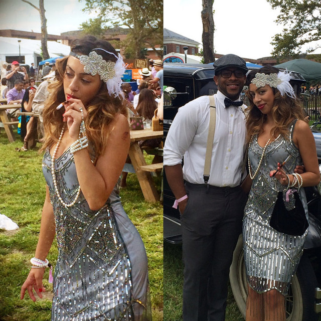 Great Gatsby Dress Scoop Neck Beaded Sequin Prom Dress Sliver Gray ...