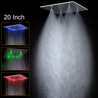 Luxury Ceiling Square Showerhead / 20 inch LED Rainfall Shower Panel Mist Sap Quality Shower Bath / 304 Stainless Steel Polished