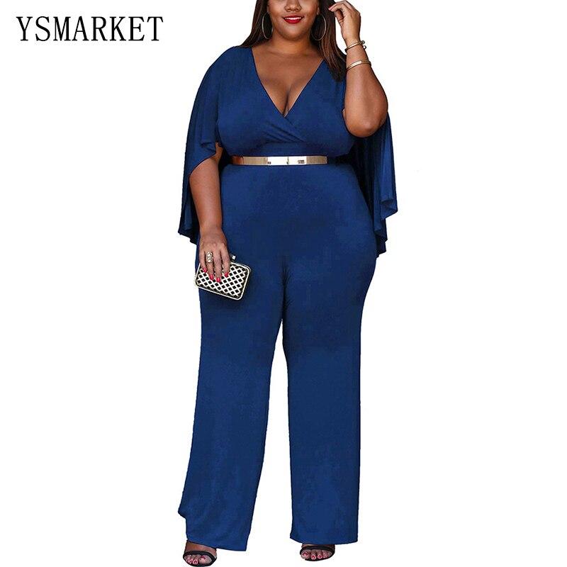 Plus Size Cape Poncho Belt Jumpsuit Rompers Women Slim V Neck Royal