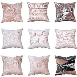 Image 1 - 45*45 Colorful Silk Satin Pillowcases Cover Super soft fabric Home Cushion Simple Geometric Throw Bedding Pillow Case Pillow Cov