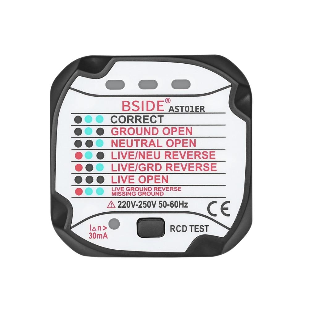 BSIDE AST01ER Socket Testeur Sortie Testeur UE Plug Automatique Électrique Circuit Polarité Tension Détecteur Mur Plug Disjoncteur Finder