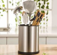 Export Rotating Cylinder Kitchen Stainless steel Chopsticks Box Waterlogging Rainfall Multi function 3 cages Cutlery boxes