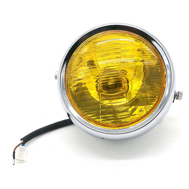 lowest price DC 12V Motorcycle Refit Headlight Vintage Round Motorcycle Head Light Scooter Motorbike Motor Front Headlights Lamp Universal